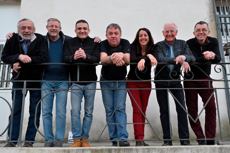 De gauche à droite : Jean Dizier, Serge Ferreux, Christophe Lopez, Thierry Dumont, Carole Reboul, Jean-Claude Wollès, Christophe Dhéry